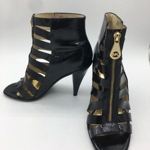 Blaze Patent Leather bootie, open-Toe, gold zipper